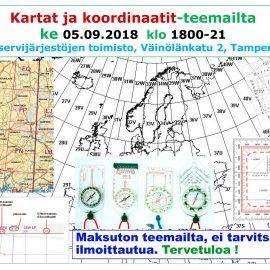 Kartat ja koordinaatit -teemailta 05.09.2018