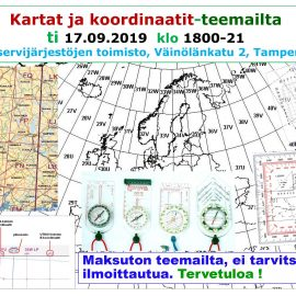 Kartat ja koordinaatit-teemailta ti 17.09.2019 klo 18-21